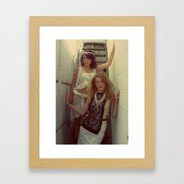 Girls on Urban Staircase Framed Art Print
