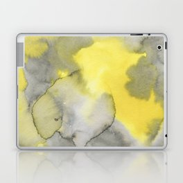 Hand painted gray yellow abstract watercolor pattern Laptop & iPad Skin