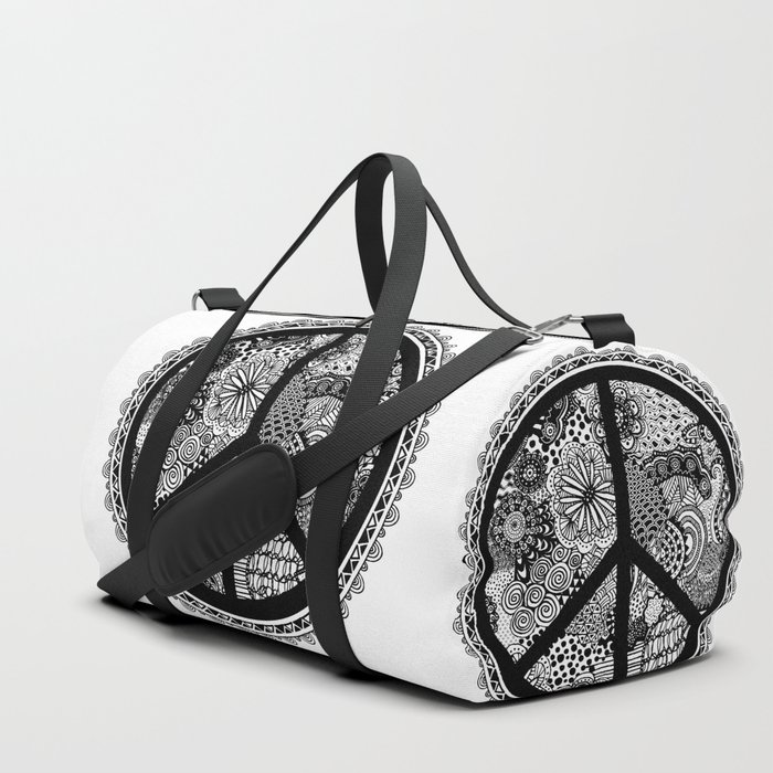 Zen Doodle Peace Symbol Black And White Duffle Bag By