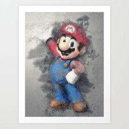 Super Mario digital art Art Print