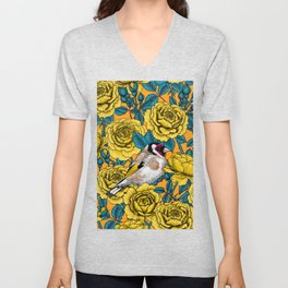 Yellow rose flowers and goldfinch birds Unisex V-Neck