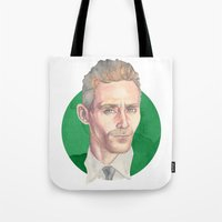 tom hiddleston Tote Bags featuring Hiddleston by Megan Diño