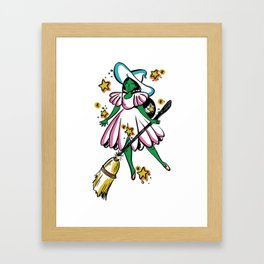 Green Galaxy Witchy Framed Art Print