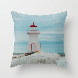 Frozen Lighthouse Throw Pillow