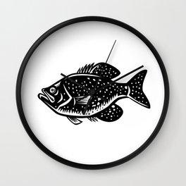 Crappie Fish Woodcut Wall Clock