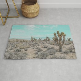 Teal Desert Sky // Cactus Landscape Photography Sierra Nevada USA Cloud Dusted Sky Rug