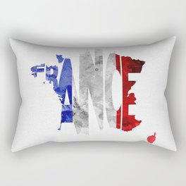 France Typographic World Map / France Typography Flag Map Art Rectangular Pillow