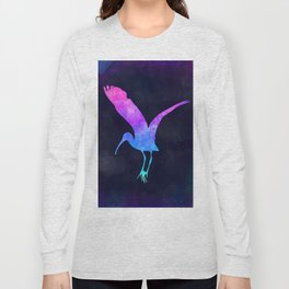 STORK IN SPACE // Animal Graphic Art // Watercolor Canvas Painting // Modern Minimal Cute Long Sleeve T-shirt