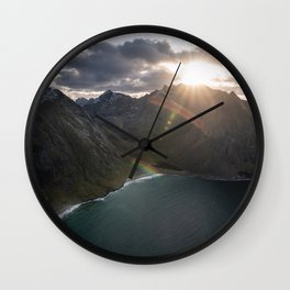 Kvalvika sunset, Lofoten Wall Clock