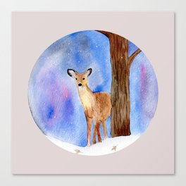 Deer in Forest Winter Painting Canvas Print