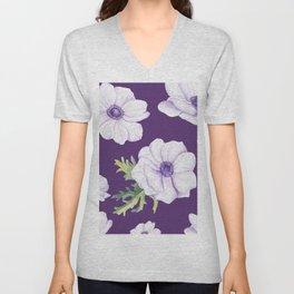 Anemones Purple #society6 #buyart Unisex V-Neck