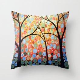 Abstract Art Original Landscape Painting ... Nights of Splendor Throw Pillow
