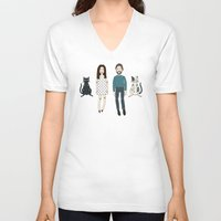 family V-neck T-shirts featuring Family by Marta Li