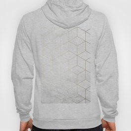 Gold Geometric White Mable Cubes Hoody