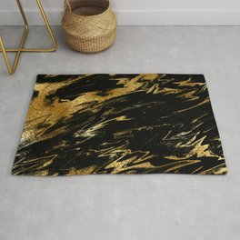 Luxury and sparkle gold glitter and black marble Rug
