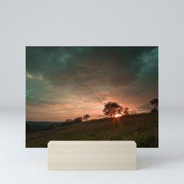 Below the Horizon Magenta Teal Skies Mini Art Print
