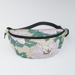 White Peonies Fanny Pack