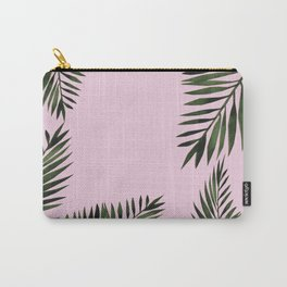 Watercolor tropical palm leaves pink Carry-All Pouch