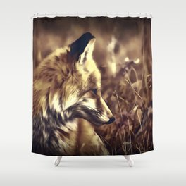 red fox acrylic four reacfn Shower Curtain