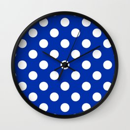 International Klein Blue - blue - White Polka Dots - Pois Pattern Wall Clock