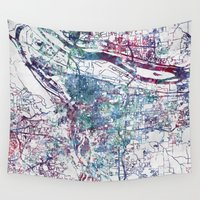 portland Wall Tapestries featuring Portland map by MapMapMaps.Watercolors