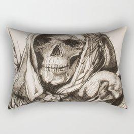 Grim Reaper & Crow Sketch Rectangular Pillow