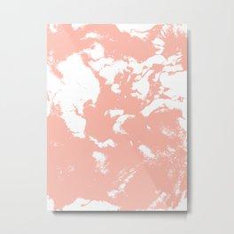 Marble pink 3 Suminagashi watercolor pattern art pisces water wave ocean minimal design Metal Print