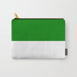 White and Green Horizontal Halves Carry-All Pouch