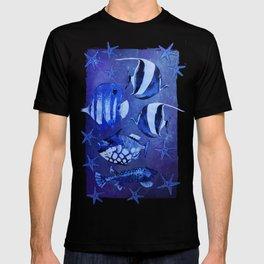 Watercolor fish pattern dark blue T-shirt