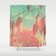 Flamingo Pink Autumn Leaves Shower Curtain