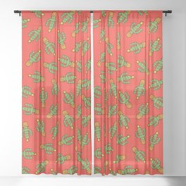 Cactus Christmas Tree in Red Sheer Curtain