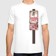 Zombie Parking only Mens Fitted Tee MEDIUM White
