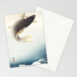 A leaping Carp - Japanese vintage woodblock print art Stationery Cards