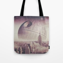 Death Star Over New York Tote Bag
