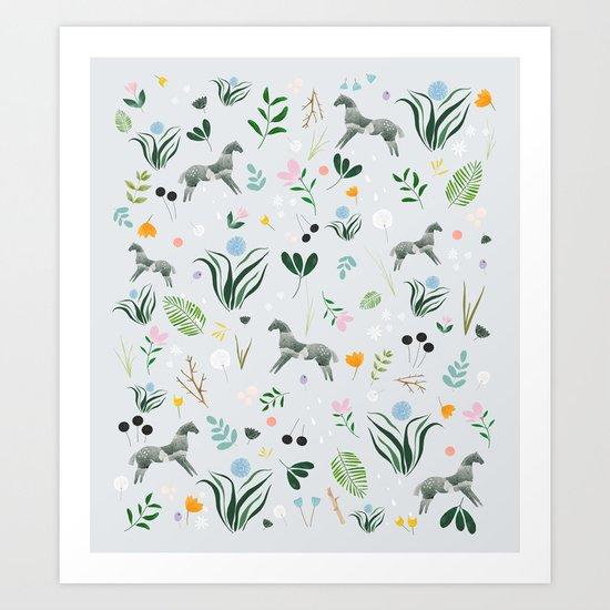 Green Horses Art Print