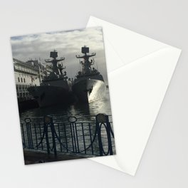 Navy Ships In Port Stationery Cards