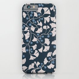 Ginkgoleaves dark blue 300 iPhone Case