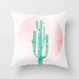 Desert Cactus Green with Rose Gold Sun Throw Pillow