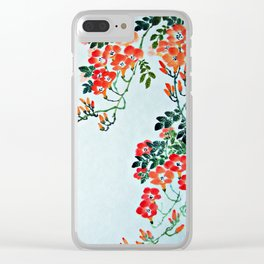 Red Trumpet Flowers Clear iPhone Case