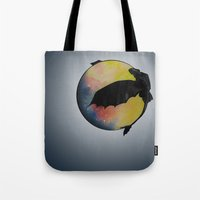 toothless Tote Bags featuring Toothless by Emilee's Fine Art