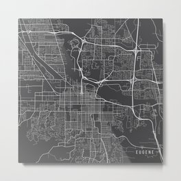Eugene Map, USA - Gray Metal Print