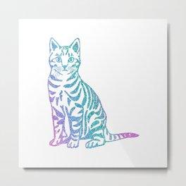 Rainbow Glitter Kitty Metal Print