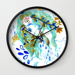 Bohemian night lady blue spirit Wall Clock