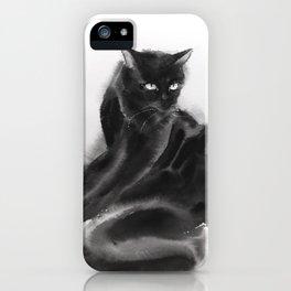Grooming black cat iPhone Case