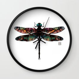 Dragonfly- Mixed Media Digital Collage Wall Clock