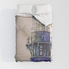 Watercolor painting of Currituck Lighthouse in the Outer Banks, NC, lighthouse painting Comforters