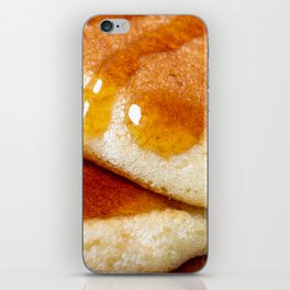 Detail of homemade pancakes wet with maple syrup iPhone Skin