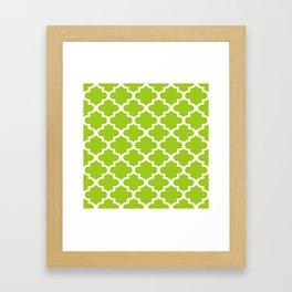Arabesque Architecture Pattern In Lime Framed Art Print