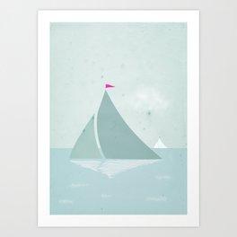 Peaceful seascape with sailboats Art Print