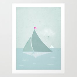 Peaceful seascape with sailboats Art Print
